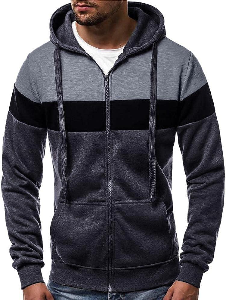 Qsctys Men's Special sale item Hoodies Full Zip Up depot Midweight Hooded Fleece Jacket