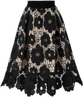 PEIZH Womens Floral Chiffon Skirt Plain Knee Length Swing Skirt Ladies Soft Stretch Flared Printed Skater Midi Skirt