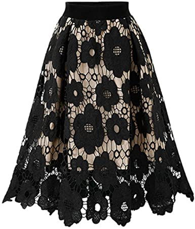 Gusspower Mujer Falda de Encaje Elegante Vintage Faldas ...