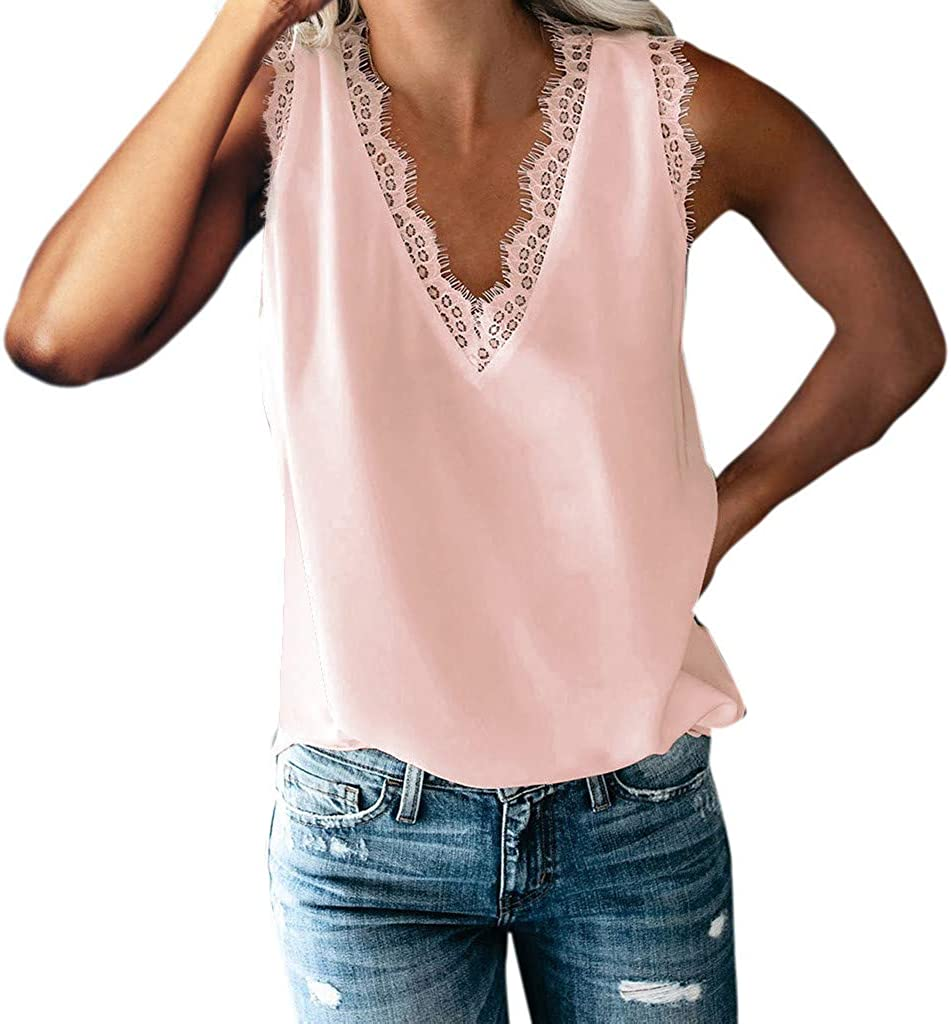 Hotkey Women's Sexy V Neck Lace Tank Tops Casual Loose Summer Sleeveless Camisole Cami Tops Vest Blouses Shirts for Women