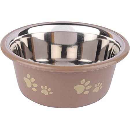 Dog Boss Pet Supplies Bone and Paw Print Inside Stainless Steel Cutie Dogs and Cats Feeder Plastic Bowls (Grey)