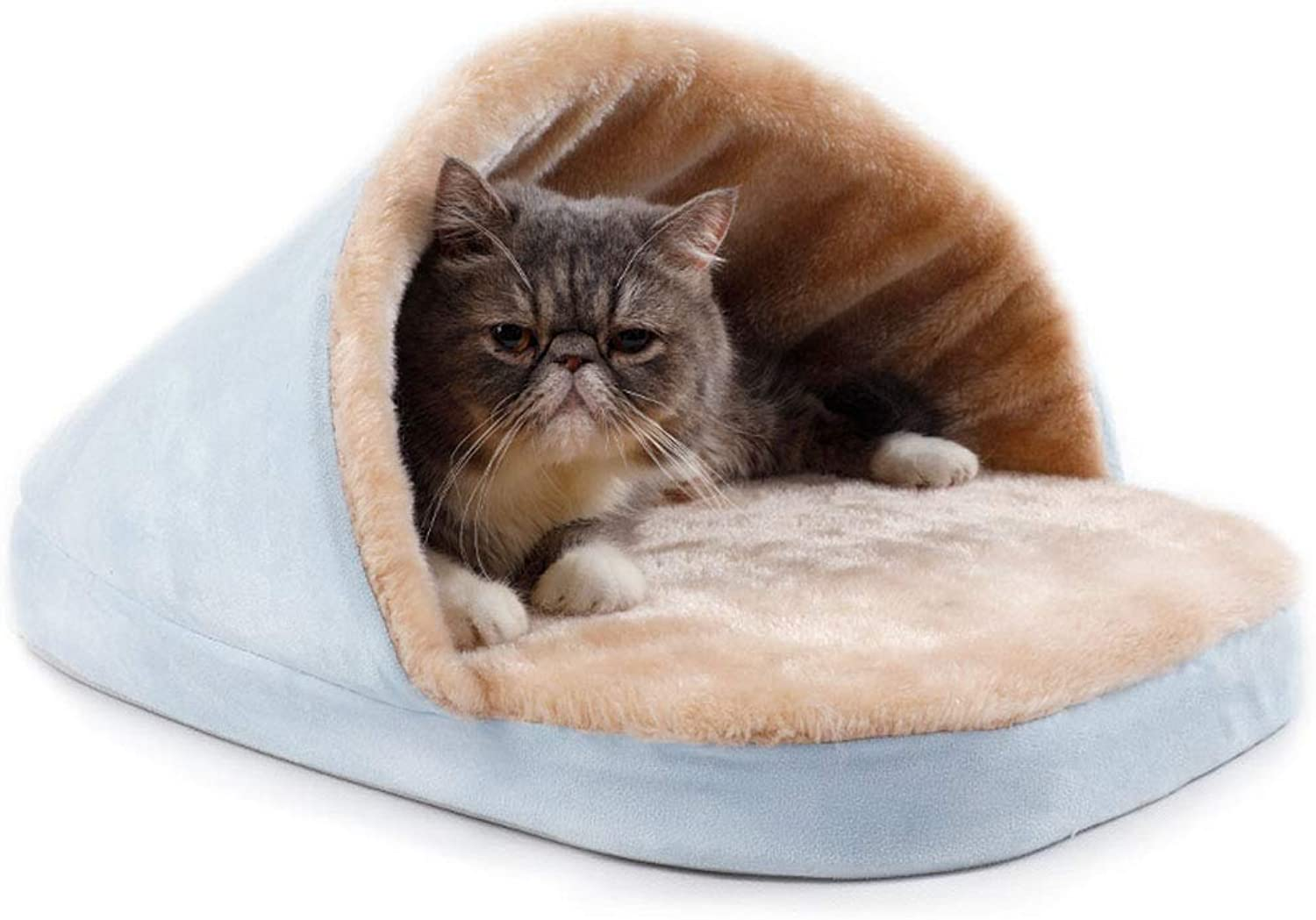 Dog Bed cat mat Plush Pad Soft Interior - Cute Slipper Style Sky bluee - 55x40cm Four Seasons Universal Washable