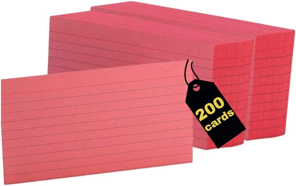 Max 63% OFF 1InTheOffice Ruled Red Index Cards 3x5 200 Cherry Max 40% OFF