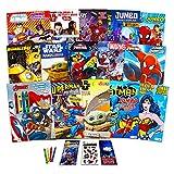 Juego de libros para colorear Superhero Ultimate ~ 15 libros con Vengadores, Spiderman, Liga de la Justicia, Batman y más (incluye pegatinas)