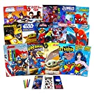 Superhero Ultimate Coloring Book Assortment ~ 15 Books Featuring Avengers, Spiderman, Justice League, Superman, Star Wars Mandalorian, and More (Bundle Includes Stickers)