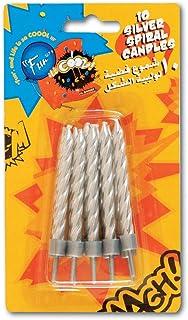 شموع إتس رائعة بتصميم دوامي لعيد الميلاد فضية + حامل - 10 قطع من Fun® Its
