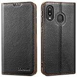LENSUN Samsung Galaxy A40 Leather Case, Flip Genuine