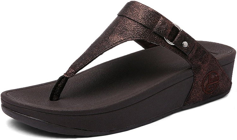 Women Flip Flop Toe Sandals-Shimmer Print Comfy Beach shoes,Brown,36