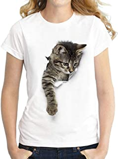 FRPE Womens Casual Slim Crewneck Cat Printing Short Sleeve Blouse T-Shirt Top