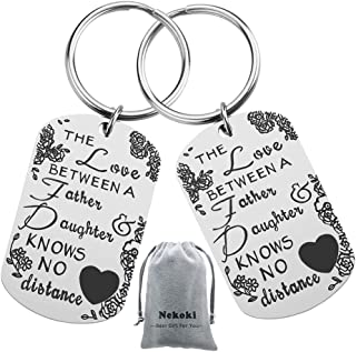 Dad Gift from Daughter Father Daughter Long Distance Keychain Gifts,The Love Between Father and Daughter Knows No Distance Keychains Keyring