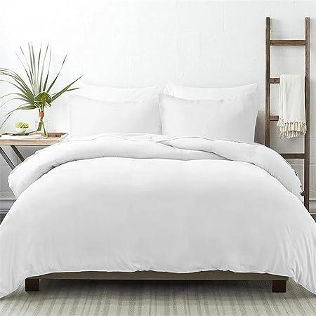 NIERBO 3 Pièce Housse de Couette 240x260cm avec 2 Taies d'oreiller 65x65cm Blanc 120g/㎡ Plus Epais Parure de Lit Adulte