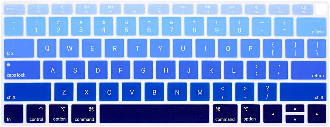 ProElife Ultra Thin Silicone Keyboard Protective Skin for 2019 2018 MacBook Air 13-Inch (A1932, U.S Layout) Keyboard Accessories Protector (NOT FIT 2020 Air 13-Inch), Ombre Blue