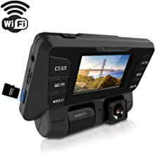 ITRUE X9D WiFi Dash Cam Rotatable Inner and Front Cameras Dual Full HD 1080P, Stealth Design,170°Wide Angle Superior Night Mode, G-Sensor & WDR, for Uber Lyft Rideshare Drivers,32G Card Included