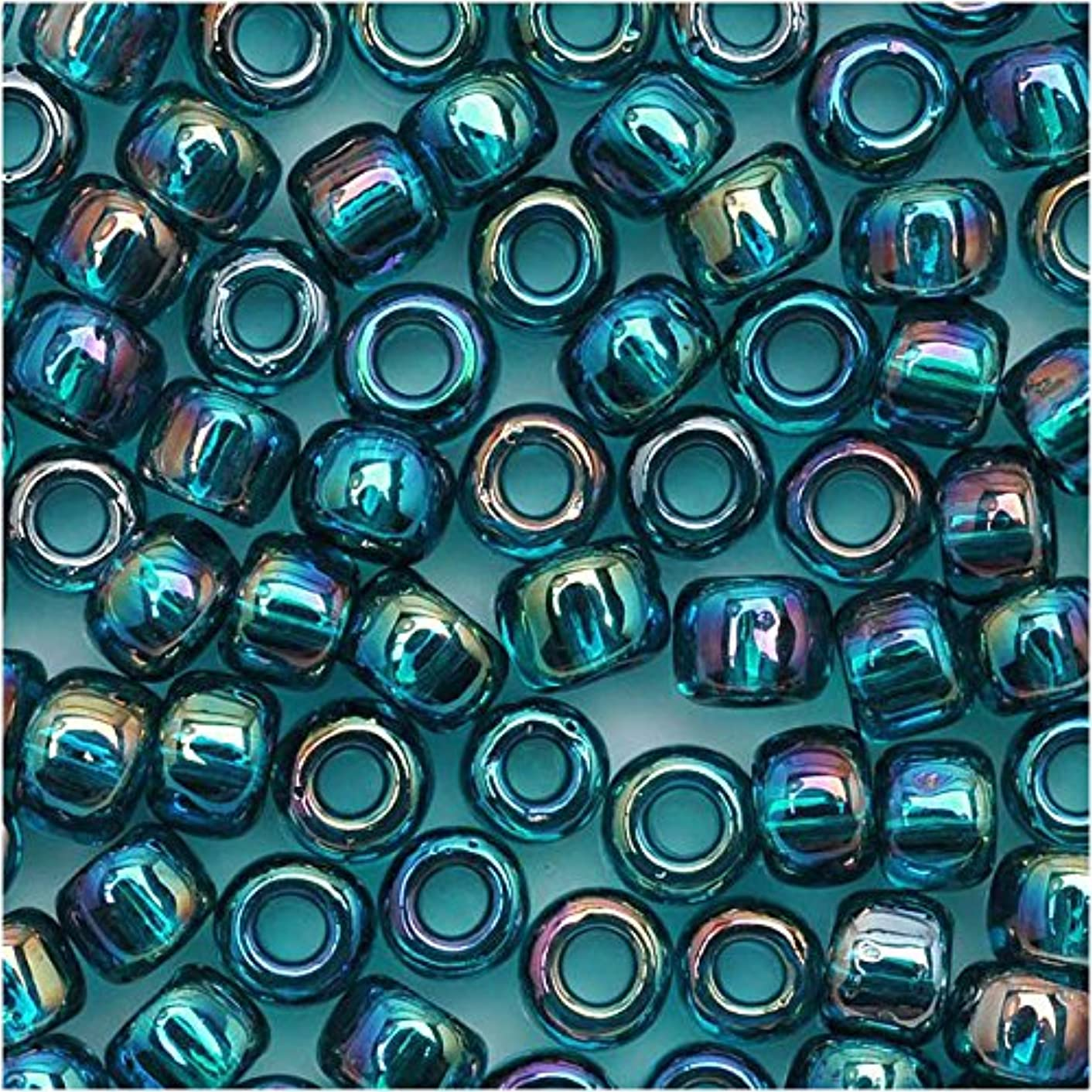 Toho Round Seed Beads 6/0 #167BD 'Transparent Rainbow Teal' 8 Gram Tube