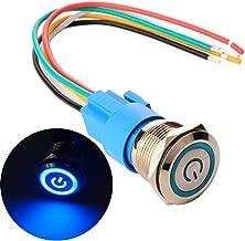 Impermeable ON//Off 12V-24V 5A LED 1NO1NC SPDT Temporal Interruptor Pulsador con Enchufe de Cable Gebildet 16mm Moment/áneo Pulsador de Bot/ón Interruptores Acero Inoxidable LED Naranja