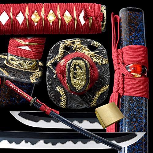 entez Battle Ready Katana,Handmade Japanese Samurai Sword,1095 High Carbon Steel,Black Blade,Full Tang Katana,Razor Sharp.
