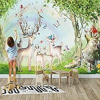 カスタム写真の壁紙3D森虹エルク壁画子供の寝室の漫画の壁画子供の部屋クリエイティブ壁紙3D, 350cm×245cm