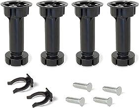 EMUCA 2032117 Jeu de 4 pieds réglables avec accessoires pour cuisine/salle de bain, en plastique, Noir, 100 mm