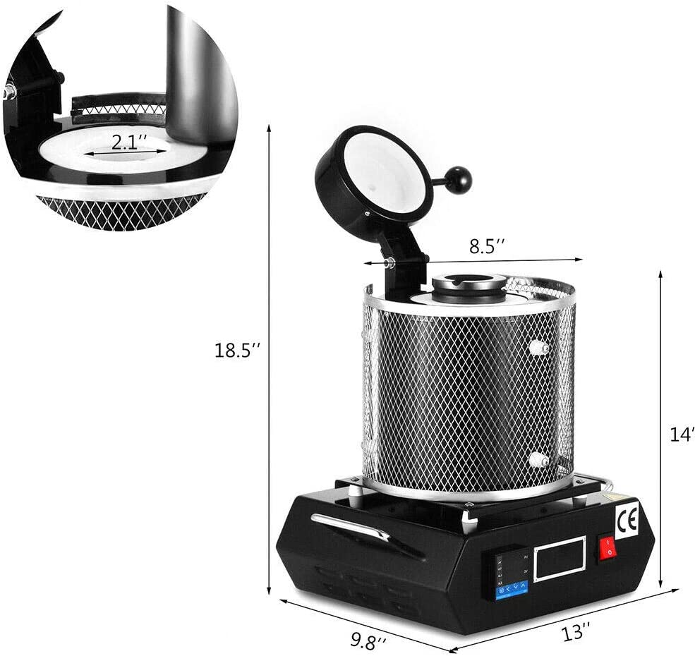 2//3 KG Gold Melting Furnace 1600W 2102F Automatic Electric Metal Melting Furnace with Graphite Crucible Gold Silver Copper Smelter Casting Furnace Refining Kiln Tools 2KG Black