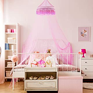 Goplus Bed Canopy, Princess Mosquito Netting Dome for Baby, Kids, Girls with Elegant Ruffle Lace, Indoor Outdoor Castle Play Tent Baby Crib Netting (Pink)