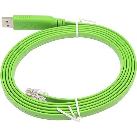KAUMO USB RJ45 シリアル コンソールケーブル FTDI チップ(Cisco Juniper などに対応) (2.0m, グリーン)