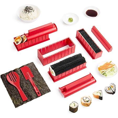 1 pagaie de Riz 1 x /épandeur de Riz 4 Paires de Baguettes Exzact EX-SR08 Ensemble de 8 roulettes pour Sushi en Bambou Tout Naturel 2 x Tapis