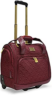 The Black Adrienne Vittadini Diamond-Quilted Rolling underseat luggage