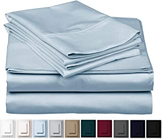 1000 Thread Count Best Bed Sheets 100% Egyptian Cotton Sheets Set - Sky Blue Long-Staple Cotton Queen Sheet for Bed, Fits Mattress Upto 18'' Deep Pocket, Soft & Silky Sateen Weave Sheets