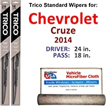 Wiper Blades for 2014 Chevrolet Cruze Driver & Passenger Trico Steel Wipers Set of 2 Bundled with Bonus MicroFiber Interior Car Cloth