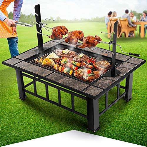 ZDYLM-Y 3 in 1 Outdoor fire Pit with BBQ Frames & Waterproof Cover, Wood Burning Square Garden Stove, Ice Pit, Heater, for Party, Picnic