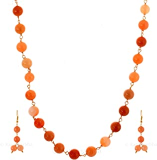 Ratnagarbha orange aventurine smooth round beaded golden chain necklace set with earrings, long necklace, daily,party,offi...