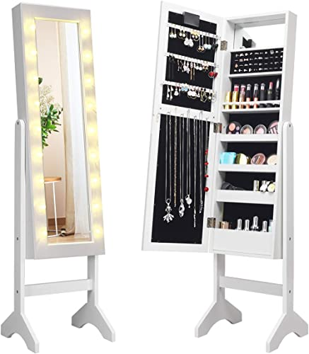 wholesale Giantex lowest Standing Jewelry Armoire with 18 LED Lights Around the Door, Large Storage Mirrored Jewelry Cabinet with Full Length discount Mirror, 16 Lipstick Holder, 1 Inside Makeup Mirror (White) online