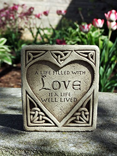 Carruth Studio, Celtic Love Stone Wall Plaque Figurine, Original Sculpture Handcrafted in Stone, Artisan Made