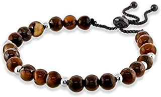 Believe London Tiger Eye Bracelet with Jewelry Bag & Meaning Card | Strong Elastic | Precious Natural Stones Crystal Healing Gemstone Men Women Meditation