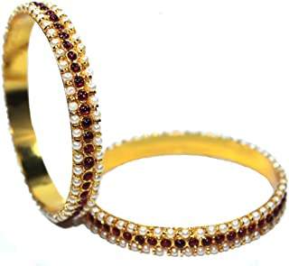 Bharatanatyam Temple Jewelry traditional Kemp style Bangles for Indian Classical dance