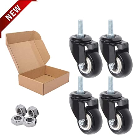 White, 2 inches 8T8 Replacement 2 inches M10 Screw stem 3//8 Office Chair Screw Stem Caster Wheels Thread Rollerblade Heavy Duty Soft PU Rubber Safe for Hardwood Carpet FloorOffice Chair