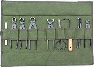 Heavy Duty Canvas Bonsai Tool Roll Storage Bag with 10 Pockets for Garden Portable Compact HGJ40