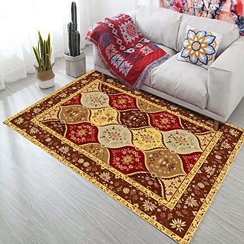 Tapis de Style Persan bohême Tapis antidérapant pour Salon Chambre étude Rectangle Tapis Boho Maroc Tapis Ethnique Tapis-Jaune 80x120cm