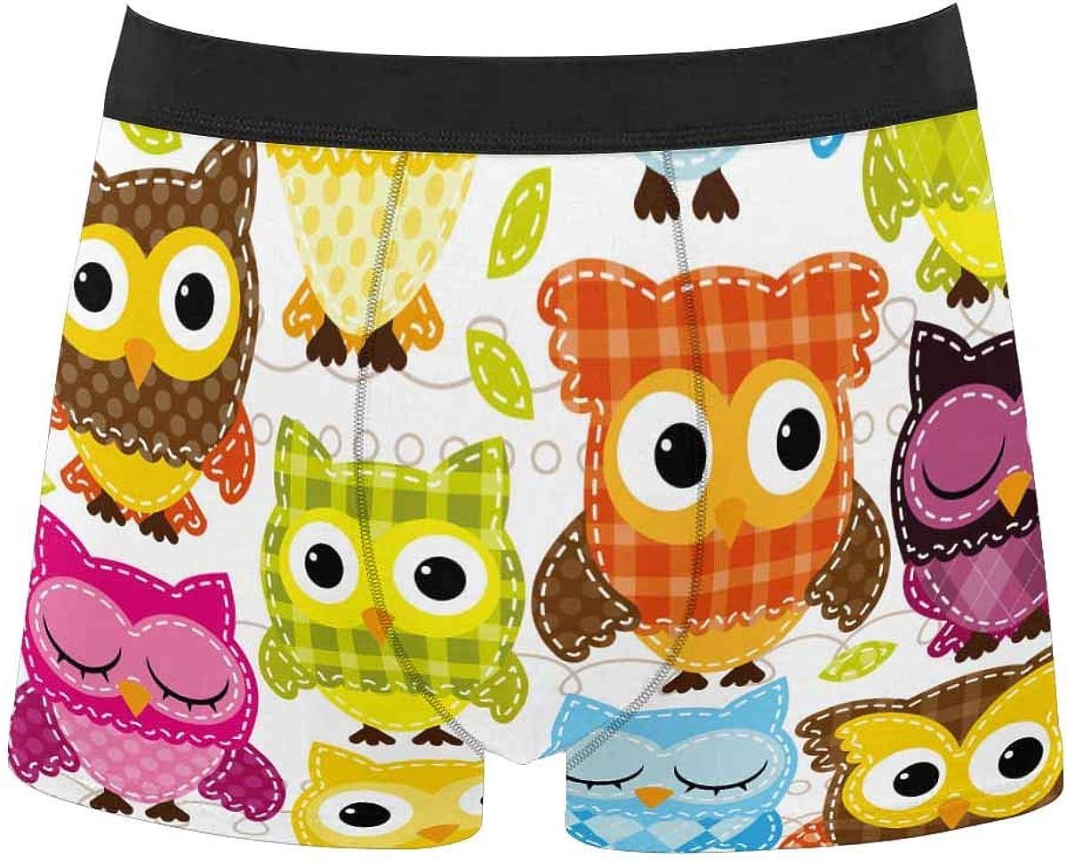 InterestPrint Men's Lightweight Breathable Boxer Classic Briefs Underwear Owl,Bird,Tree
