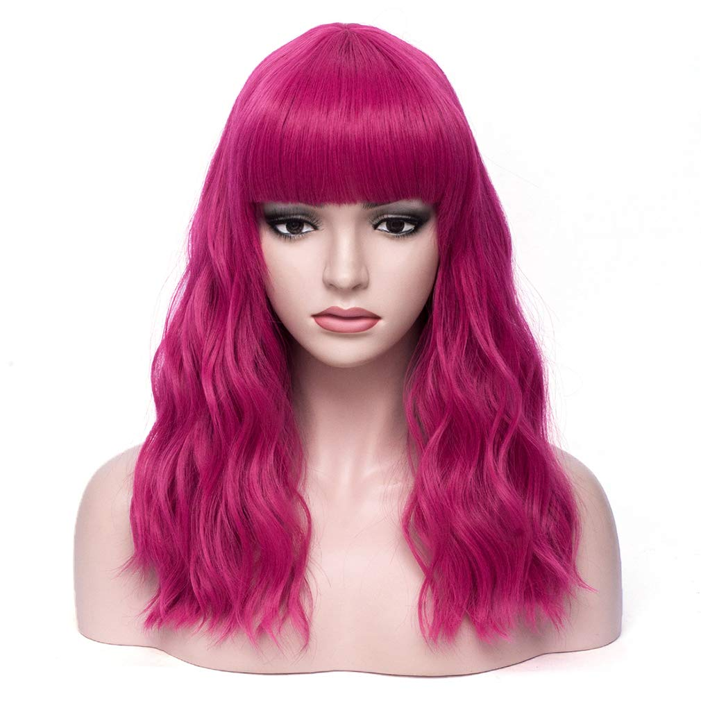 BERON Hot Pink Wavy Max 85% OFF Wigs Women Wig Middle Hair Length with Bangs Wholesale
