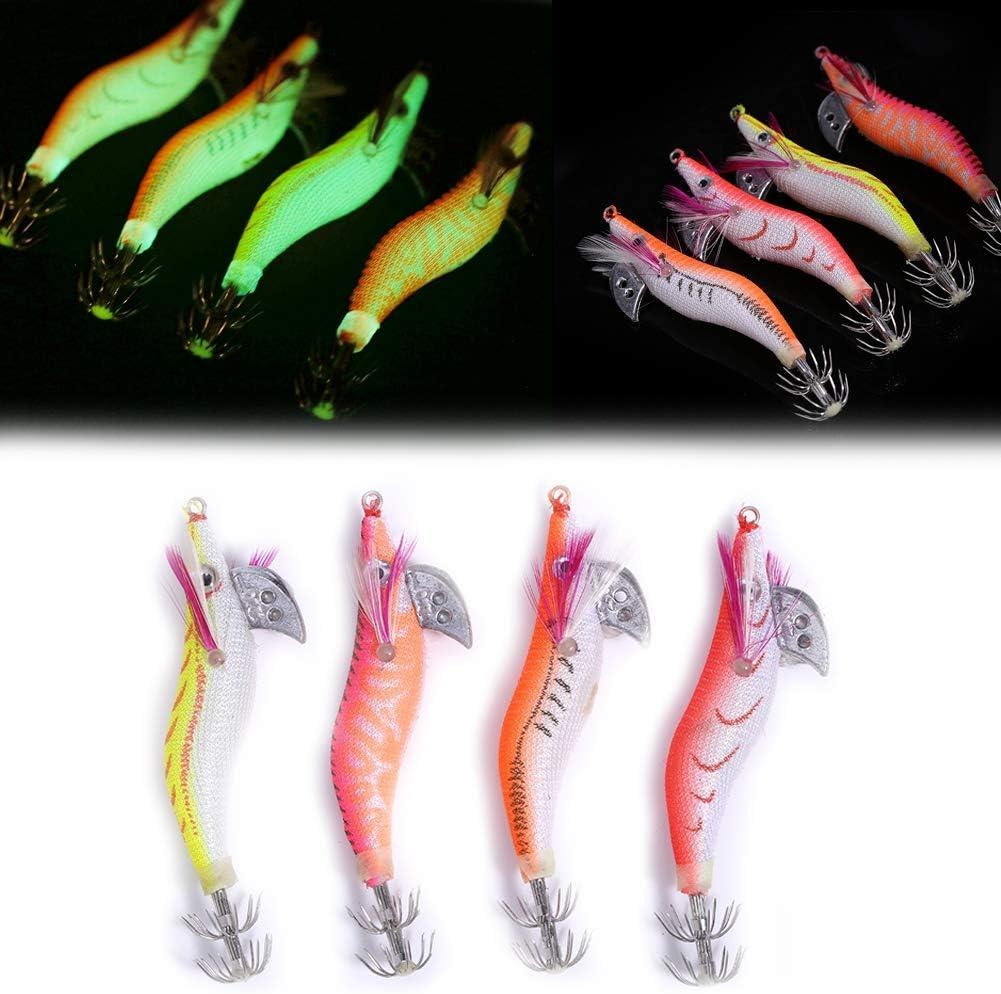 Dilwe Cebo de Pesca 4 Piezas Luminoso Pesca Camarón Cebo Señuelo Duro con Ganchos de Acero Carbono para Noche Amanecer