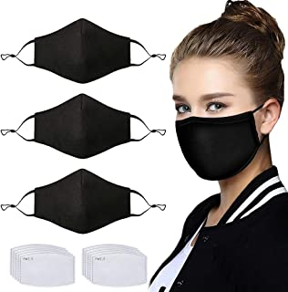 3 Pcs Unisex Fashion Cotton Cloth Dust Face Protection with Nose Bridge Reusable Washable Adjustable with 10 Pcs Replacement Carbon Filters for Man and Women(Black)