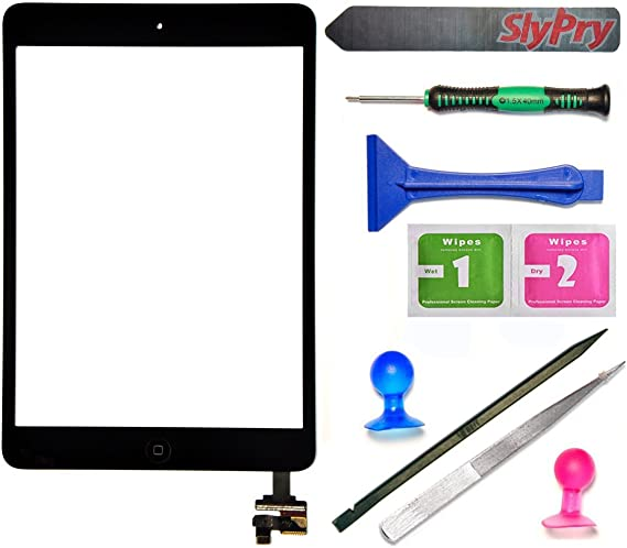 Fixcracked Touch Screen Replacement Parts Digitizer Glass Assembly for ipad 6th Gen 2018 (A1893 A1954) with Home Botton Cover(No Touch IC) + Professional Tool Kit (Black)