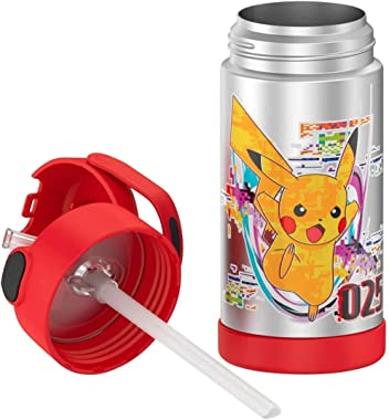 """Thermos Pokemon 12oz FUNtainer Water Bottle (Pikachu, Squirtle, Eevee)12oz / 355ml (Approx 7"""" x 2.62"""" Wide)"""
