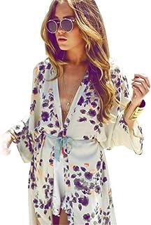 Donna Copricostume Mare Cardigan Estivo Manica Lunga Stampa in Pizzo Bikini Cover Up Elegante Moda Casuale Classiche Unique Sciolto Traspirante Sottile Kimono