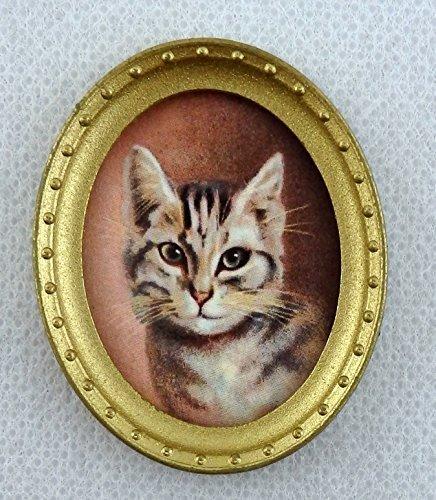 Melody Jane Puppenhaus Miniatur Zubehör Katze Portrait Bild Gemälde oval Goldrahmen
