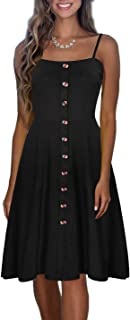 Womens Casual Summer Dresses Spaghetti Strap Button Down Flattering A-Line Backless Swing Midi Sundress