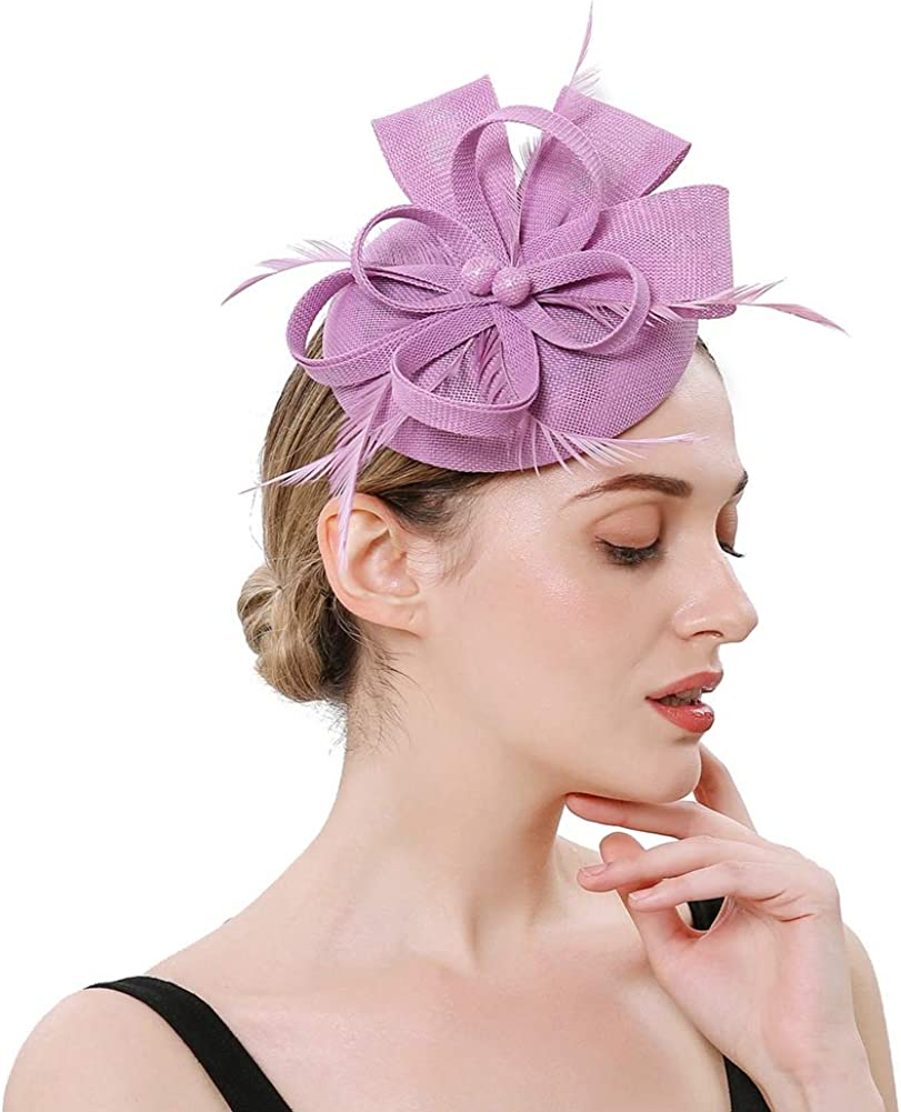 BUYITNOW Charming Feather Fascinators Headband Netting Mesh Hair Band for Wedding Cocktail Hat Party Derby Royal Banquet