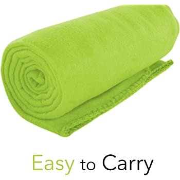 """Micro World 50""""x 60"""" Ultra Soft Fleece Throw Blanket - Perfect Blanket for Pets, Family, and Friends - Charitable Compact Blanket - 100% Machine Washable Polyester Fleece Throw (Lime Green)"""