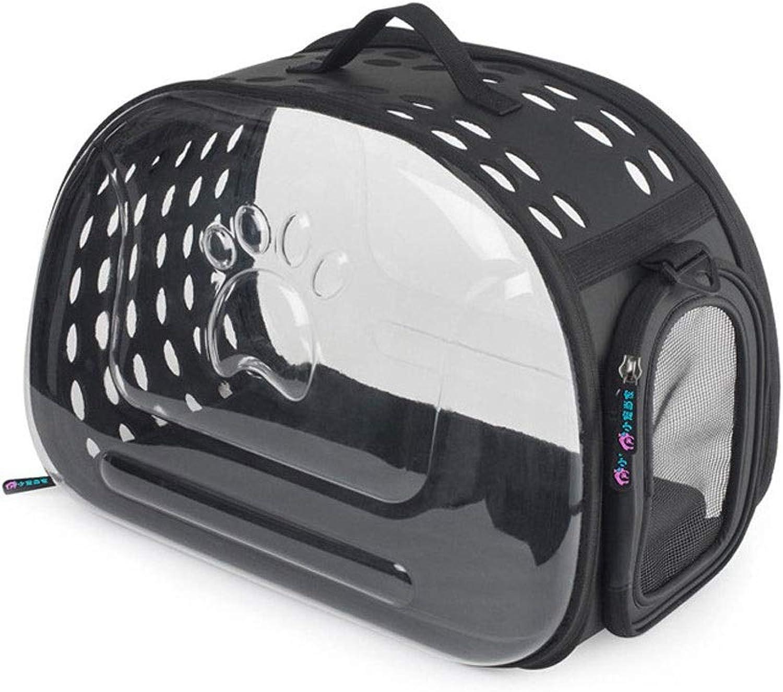 Cat Bag Dog Bag Transparent cat Backpack pet Out Portable Breathable Slung Shoulder Bag (color   Black, Size   S)